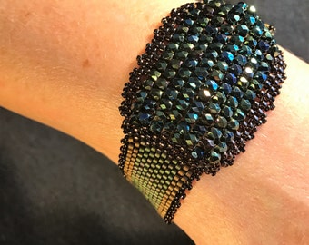 No 163 Hand beaded Crystal and Glass Bracelet