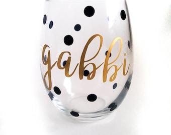 Custom Wine Glass, Stemless Wine Glass, 15 oz, Wine Glass, Bridesmaids Gift, Bridesmaid Gift, Personalized Gift, Monogrammed Gift, Gift