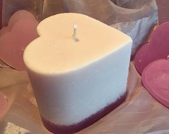 White Gradient Pillar Heart Candle
