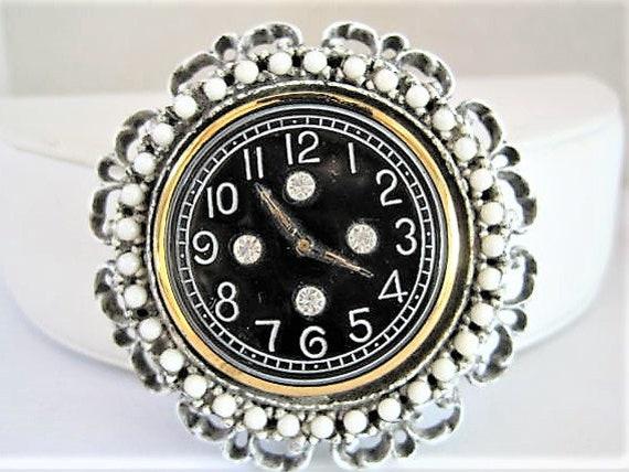 Art Deco Brooch/Pendant, Vintage Clock Face, Rhinestone Highlilghts, Black Enamel Face, White Washed Setting