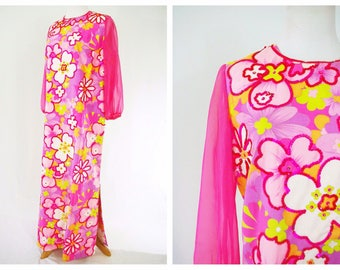 Pink Flower Power Dress 60's // Bright Funky Maxi Dress with Sequins
