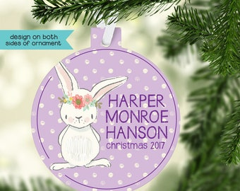 Baby's First Christmas Ornament, Birth Announcement Ornament, Bunny Christmas Ornament, Personalized Baby Ornament