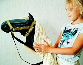 Brown stick horse hobby horse with black bridle wooden toy horse crazy gift rockin horse stick horse easter horse gift easter gift hobby horse ride on negle Images