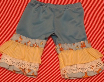 New handmade Preemie Girl Bell bottom pants foxes lace ruffles