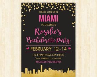Miami bachelorette weekend invitation Miami bridal shower invitation itinerary Miami party invitation printable Miami invitation 284