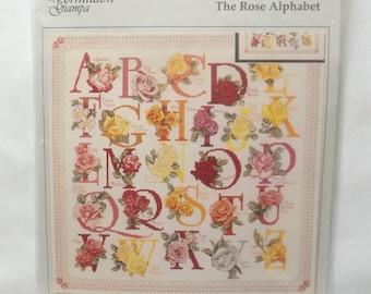 Rose Cross Stitch Alphabet Vintage 1990's Pattern, Stitching Supply, Floral