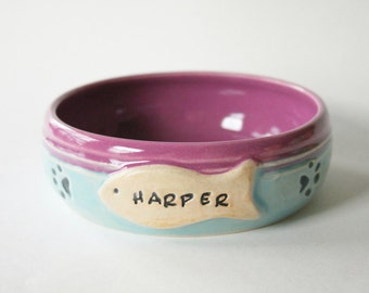 One Custom Cat Food Bowl, 3 week wait time, Made to order and Personalized with Pet Name