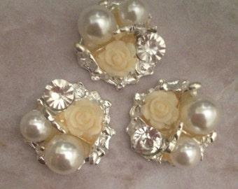 Rhinestone button, pearl button, rhinestone pearl button, flat back brooch, headband supplies, cream brooch, rose brooch, rose button