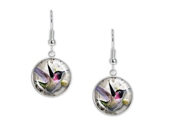"Violet Throated Hummingbird in Flight Illustration Dangle Earrings w/ 3/4"" Charms Silver Tone or Gold Tone"