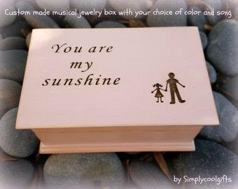 music box, jewelry box, wooden jewelry box, custom jewelry box, musical jewelry box, birthday, personalized, you are my sunshine, daddy & me
