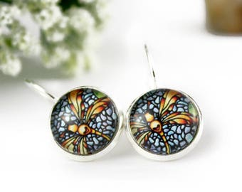 Dragonfly Earrings - Stained Glass Jewelry - Orange and Yellow Dragonfly Earrings - Silver Earrings - Art Nouveau Art - 12 mm round glass