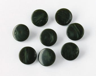 Green round opalescent shank buttons , set of 8, vintage plastic sewing buttons , coat buttons