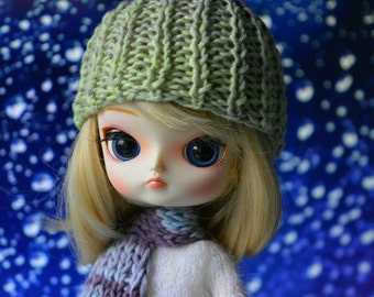 Set hat and scarf fits Pullip Dal dolls green blue purple