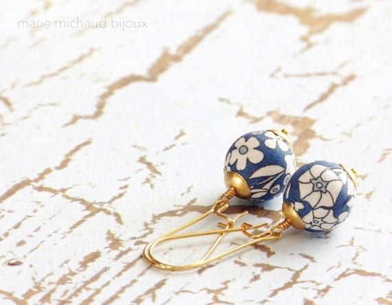 Liberty earrings,Colorful earrings,Blue earrings,Flower earrings,Liberty jewelry,2018 trends,Gift under 30,Stainless steel,Delicate earrings