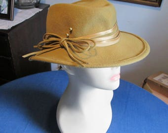 Vintage Brown Felt Fedora Hat with Ribbon and Bow Made in Germany Ein Markert Hut