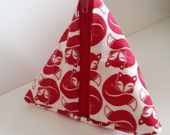 fox fabric pyramid coin purse, red foxy fox