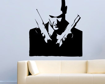 Game Wall Decal Hitman with Guns Stickers Mural Vinyl MK1064