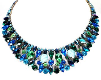 Juliana Rhinestone Glass Collar Bib Necklace