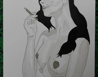 "drawing of nude female erotic ""Cigar"""
