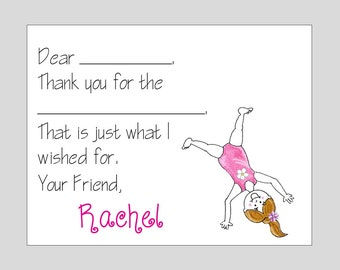 Gymanstic Fill In Thank you Note Cards ~ Tumbling Stationery
