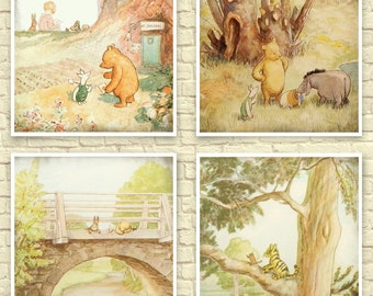 Classic Winnie The Pooh Wall Art, Winnie the Pooh Art Print, Baby Nursery Art, Children's Art, Winnie the Pooh Prints, Classic Pooh Nursery.