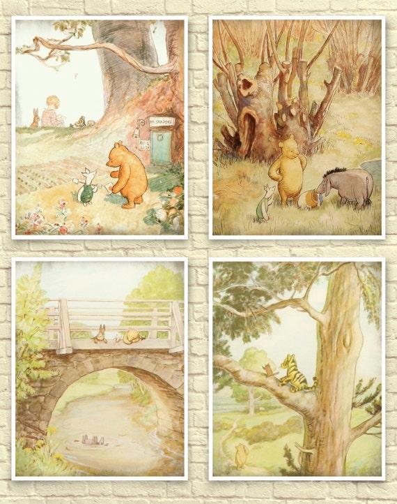 Classic Winnie The Pooh Wall Art, Winnie the Pooh Art Print, Baby Nursery Art, Children\'s Art, Winnie the Pooh Prints, Classic Pooh Nursery.