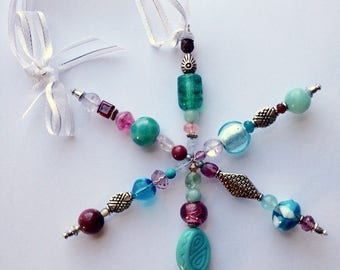 Teal and Pink Beaded Deco Flake Ornament