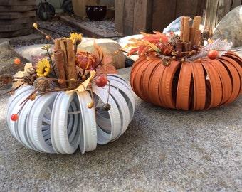 Fall Mason jar lid pumpkins, rustic fall decor, fall home decor, fall decoration