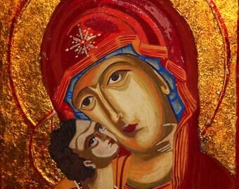 Virgin Mary little Christ Orthodox tempera handpainted icon