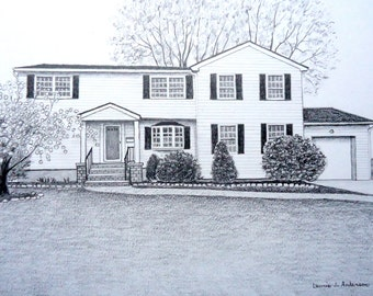 Portrait Sketch Drawing in Pencil of house, home, cottage, cabin or condo - Original Art 16 x 20 including mat - created from photo