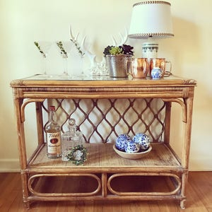 rattan console table. Bamboo Rattan Console Table T