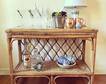 Bamboo Rattan Console Table