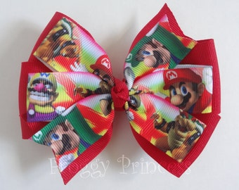 Gamer Girl Pinwheel Bow - No Slip Velvet Grip Hair Clip