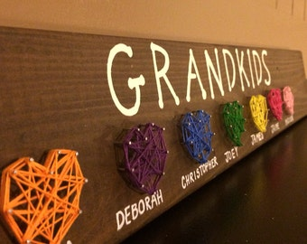 Grandkids String Art Sign- Gift for Grandparents- String Art Display- Gift For All Occasions