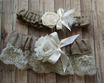 Wedding Garters Burlap Garter Set LACE WEDDING GARTER bridal accessories ivory garder