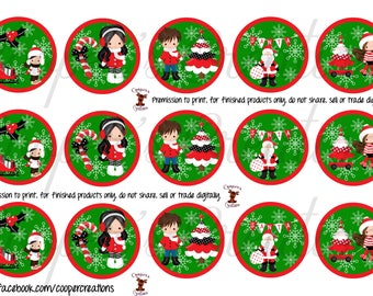 Christmas Bottle Cap Images with Kids