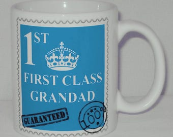 First Class Grandad Mug Can Personalise Great Father's Day Gift Gramps Granda