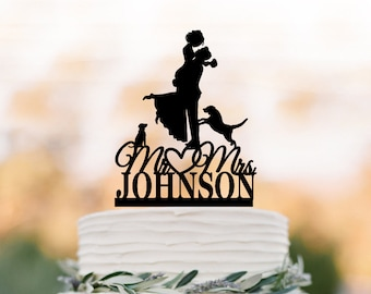 Custom Wedding Cake topper 2 dogs, bride and groom silhouette, personalized wedding cake topper letters,  unique dog cake topper