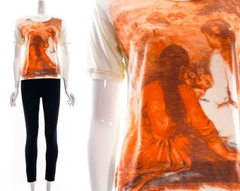 Vintage 70s ICONIC PAINTING Ringer Tee Two Girls Famous Art Print by Stardust Small Medium