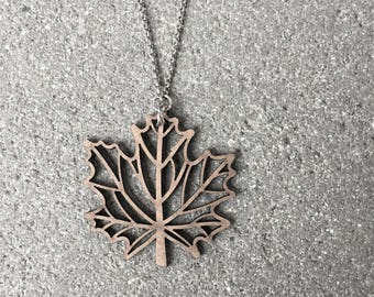 Laser Cut Canadian Flag Maple Leaf Necklace \\ Laser Cut Jewelry \\ Maple Leaf Necklace \\ Canadian Necklace \\ Canada Day Gift