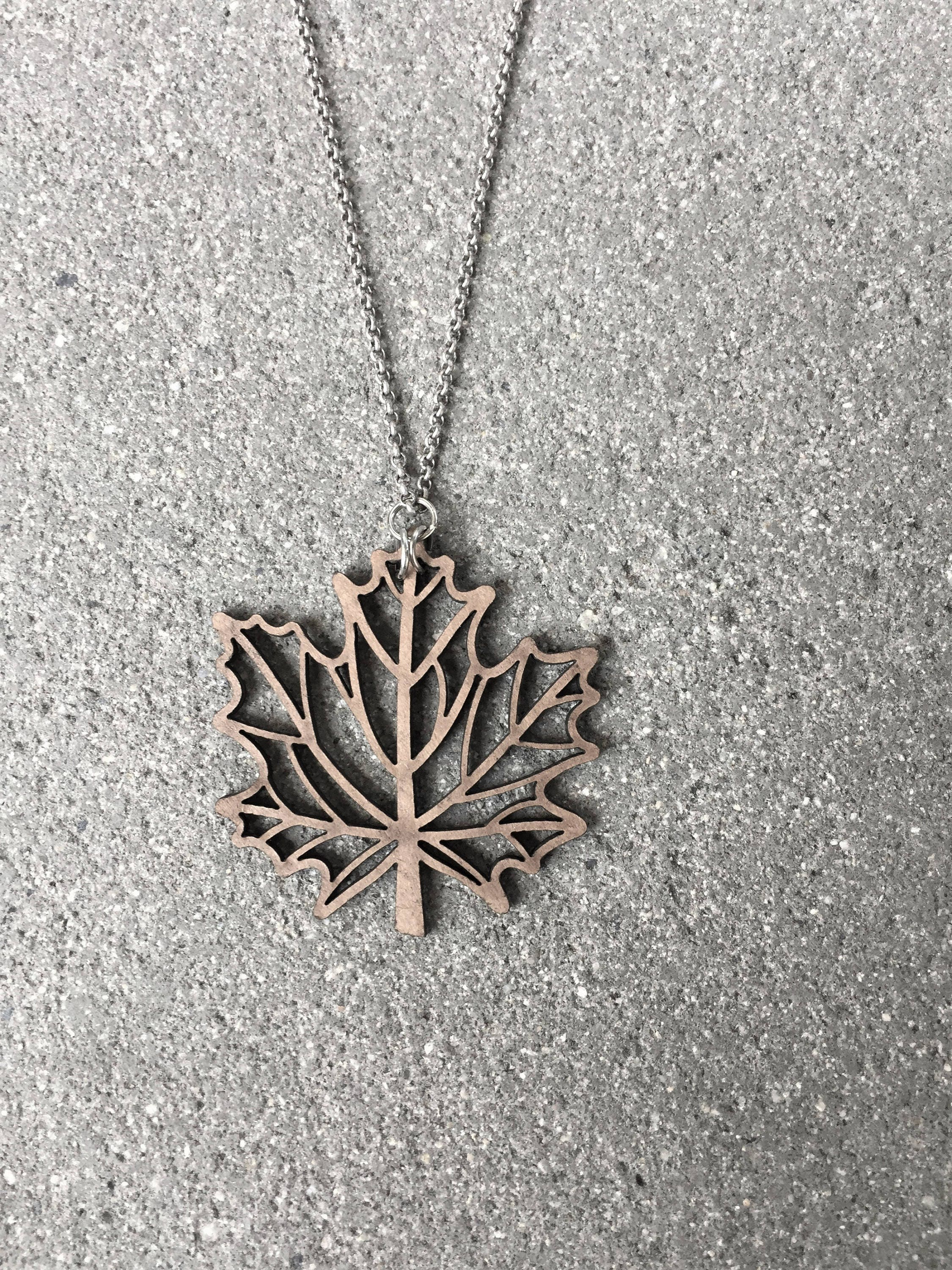 maple custom necklace large silver leaf pendant electroformed products real
