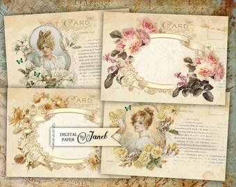 Wedding Vintage Cards - digital collage sheet - set of 4 cards - Printable Download