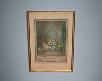 original antique french colored engraving - golden wooden frame