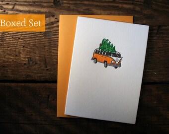 Letterpress Printed Volkswagen Bus Christmas Cards