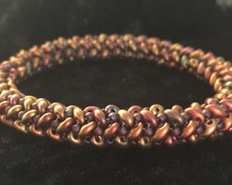 Herringbone Variation Woven Glass Bead Bangle Bracelet