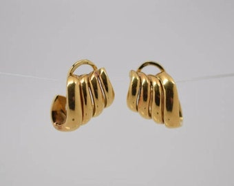 "18k Yellow Gold Ear Clips 3/4"" Wide Circular 1950's Signed ""Pouiellado"""