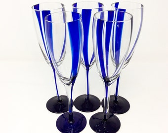 Blue Vertical Stripe Wine Glasses - Set of 5