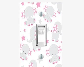 Light switch plate cover - Elephant nursery decor - Pink / Gray elephant decor - Elephant room decor - Elephant baby shower - Elephant theme