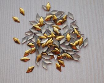 Rhombus nail studs in gold and silver colors/ Metal nail studs/ Nail art decorations/ Nail art supplies/ Nail rivets/ Nail art