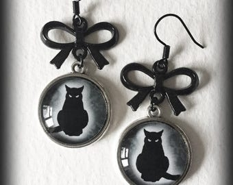 Black Cat Earrings, Antique Silver, Gothic Witch Wiccan Jewelry, Alternative Jewelry, Cat Jewellery, Gothic Jewelry, Gothic Gift For Her